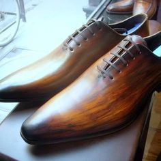 Mens wholecut hand painted brown oxfords