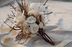 Sola Flower Lily, Sea Fan, Shell Bridal Bouquet with Photo Charm
