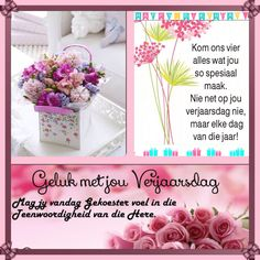 Kom ons vier... Happy Birthday Meme, Birthday Wishes Quotes, Birthday Greetings, Birthday Wishes Flowers, Afrikaanse Quotes, Wish Quotes, Happy B Day, Birthday Board, Vs Pink
