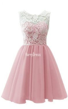 A Line Sleeveless Peach Lace Chiffon Mini Short Homecoming Dress