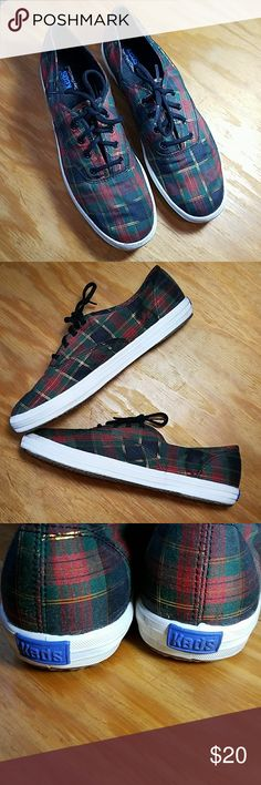Keds, navy, red green and gold plaid shoes Keds navy, red green and gold shoes. Size 8.5. Very good used condition *please see all photos for condition*. Perfect for the holiday season! Keds Shoes Sneakers