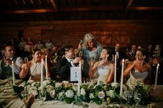 Whistling Straits wedding. Kohler, Wisconsin. Rustic candle lit head table. Anna Page Photography.