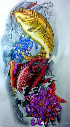 Pez Koi Tattoo, Koi Dragon Tattoo, 4 Tattoo, Color Tattoo, Japanese Tattoo Art, Japanese Tattoo Designs, Japanese Art, Carpe Coi, Koi Tattoo Design