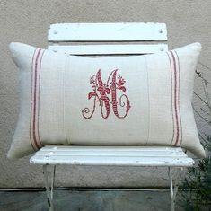Monogram pillow French style