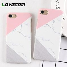 Iphone 5 6 7 8 Plus Phone Case Pink Splice Marble Frosted Hard Phone Back  Cover 879cd4b562