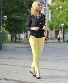 BLACK BLOUSE AND YELLOW PANTS
