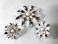 Vintage White Enamel Flower Silvertone Clip Earrings/Brooch signed Sarah Coventry