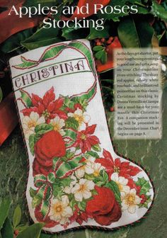 apples and roses Christmas Trends, Christmas Decor, Christmas Patterns, Anchor Threads, Burda Sewing Patterns, Cross Stitch Stocking, Stocking Tree, Simplicity Patterns, Christmas Cross
