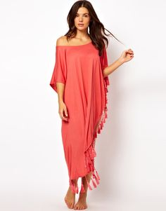 One Shoulder Tassel Beach Kaftan by MinkPink