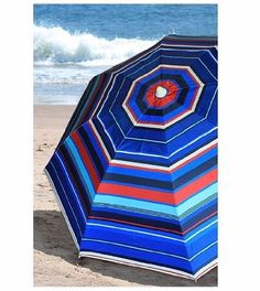 Beach Umbrella Ultraviolet Protection Factor 50 Plus Easy Screwable  Umbrella comes in a Stripe Pattern. Enjoy your time on the beach without getting too much sun.