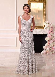 Gorgeous Lace & Satin Queen Anne Neckline Sheath Wedding Dresses