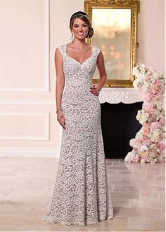 Gorgeous Lace & Satin Queen Anne Neckline Sheath Wedding Dresses