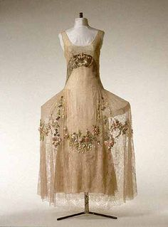 """You can see the support structure for this 1920s """"Robe de Style."""" So reminiscent of 18th century fashion, but so modern as well."""