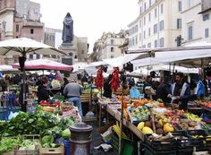 Campo de Fiori, Rome  Market for amazing lunch, gifts and people watching.. the energy in this market is not to be missed.. arrive early and make sure you bargain