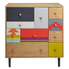 cabinet with coloured motifs Cactus Furniture Update, Furniture Makeover, Upcycled Furniture, Painted Furniture, Design Crafts, Design Projects, Cactus Bedroom, Pine Chests, Block Painting