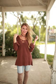 Dark Maroon Criss Cross Sweater | Foi Clothing | Maroon Sweater | Trimming Long Sleeve | Criss Cross Front Detail | Light Knitted Top | Fall Fashion | Knit Tops | Women's Long Sleeve Top | Staff Favorite | Blogger Style | Everyday Wear | Trendy Basics | Must Have | OOTD | WIWT |