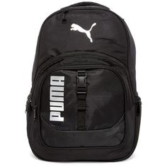 PUMA Audible Backpack (585 CZK) ❤ liked on Polyvore featuring bags, backpacks, black, puma backpack, lock bag, locking backpack, padded bag and shoulder strap bags