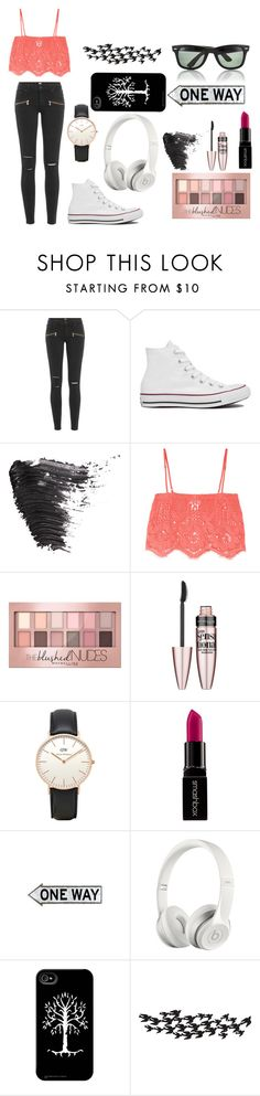 """""""My Head Is In The Clouds"""" by beach-01 ❤ liked on Polyvore featuring Paige Denim, Converse, Topshop, Miguelina, Maybelline, Smashbox, Beats by Dr. Dre, Universal Lighting and Decor and Ray-Ban"""