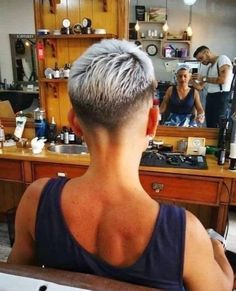 There is Somthing special about women with Short hair styles. I'm a big fan of Pixie cuts and buzzed cuts. Really Short Hair, Short Grey Hair, Short Hair Cuts, Short Hair Styles, Short Hair Undercut, Undercut Hairstyles, Pixie Hairstyles, Cool Short Hairstyles, Short Pixie Haircuts