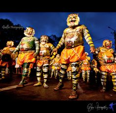 """Puli Kali (""""Puli"""" = Leopard/Tiger & """"Kali"""" = Play in Malayalam language) also known as Kaduvakali is a colorful recreational folk art from the state of Kerala. It is performed by trained artists to entertain people on the occasion of Onam, an annual harvest festival, celebrated mainly in the Indian state of Kerala."""