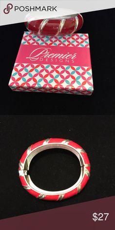 "Premier Designs Siren Bracelet Silver plated, enamel 7"" spring hinge bracelet. Premier Designs Jewelry Bracelets"