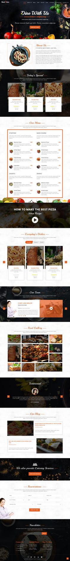 'Blackolive' is a long-scrolling One Page WordPress theme suited for a restaurant wanting an professional online presence. Features include sticky header navigation (that smooth scrolls down to the relevant sections), specials menu, restaurant-like food menu, team members, food/image gallery, testimonial/reviews slider, reservation form and a newsletter sign up box.