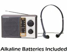 "Sony 2 Band Receiver Portable AM & FM Transistor Radio with Large Dial Panel, 3.75"" Speaker, Earphone Jack, Carry Strap, Easy Tuner Knob, Telescopic Ferrite Bar Swivel Antenna, Headphone Jack & Over the Head Vertical In-Ear Stereo Headphones - Battery Powered - Batteries Included by Sony. $24.95. Save 41% Off!"