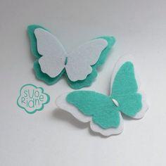 Felt brooch butterfly mint, брошь из фетра бабочка
