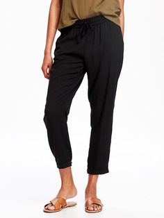 Mid-Rise Crepe Soft Pants for Women