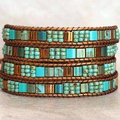Beaded Wrap Bracelets, Beaded Jewelry, Boho Jewelry, Beaded Leather Wraps, Bracelet Sizes, Bracelet Patterns, Jewelry For Her, Sterling Silver Earrings Studs, Tile