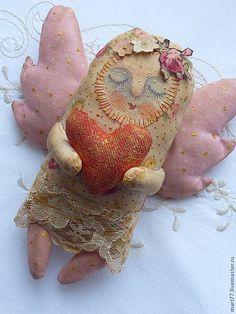Купить ангелочек с сердцем - бледно-розовый, игрушка ручной работы, ваниль, винтажный стиль, винтаж