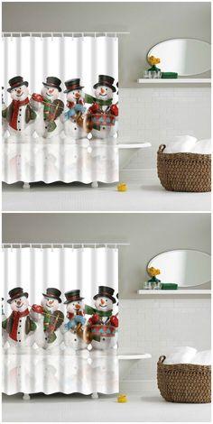 Waterproof Christmas Snowman Printed Bathroom Shower Curtain Holiday Shower Curtains, Cheap Shower Curtains, Bathroom Shower Curtains, Christmas And New Year, Christmas Stuff, Christmas Ideas, Christmas Bathroom, Curtain Material, Shower Remodel