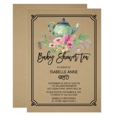 Kraft Watercolor Floral Tea Party Baby Shower Card - invitations custom unique diy personalize occasions