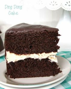 Ding Dong Cake - -rich devil's food cake, a vanilla cream filling and smothered in chocolate ganache!..