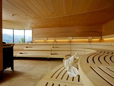 Curved commercial sauna benches