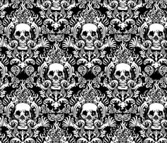 Fabric for DIY chair project! skull-damask-10inch-tall fabric by jimiyo on Spoonflower - custom fabric
