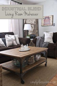industrial coffee table / industrial living room / industrial home decor / farmhouse industrial living room
