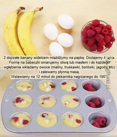 Muffiny w 20 minut Healthy Sweets, Healthy Snacks, Healthy Recipes, Good Food, Yummy Food, Food Design, Diy Food, Food Inspiration, Food To Make
