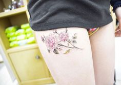 Peonies on thigh by Banul
