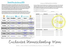 E.H.M. January 2015 Monthly Meal Planner   Enchanted Homeschooling Mom   Enchanted Homeschooling Mom