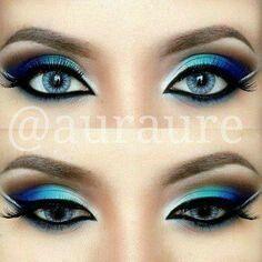 Eye makeup royal blue.