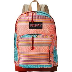 JanSport Right Pack World (Fourescent Red Golden Summer) Backpack Bags ($45) ❤ liked on Polyvore featuring bags, backpacks, pink, day pack backpack, utility backpack, laptop travel bag, travel backpack and jansport daypack