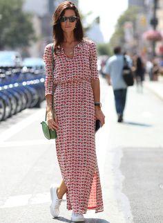 Long dress, maxi dress, streetstyle, dress & sneakers, converse