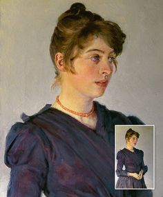 """Portrait of Marie Kroyer"" - Peder Kroyer (Danish, 1851–1909), oil on canvas, 1889 {fine art standing female face portrait cropped painting detail #nineteenthcentury #arthistory}"