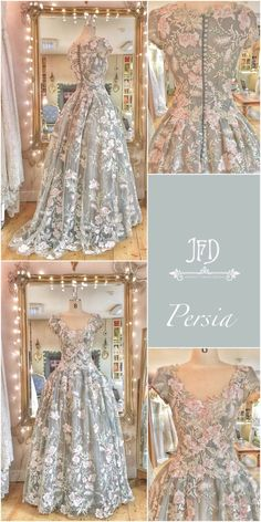 Retro Dresses Floral embroidered tulle and silk ballgown wedding dress by Joanne Fleming Design - an embroidered floral tulle wedding dress with French grey silk organza and nude tulle underskirts, ballgown style with cap sleeves Bridal Gowns, Wedding Gowns, Fairytale Dress, Fantasy Dress, Tulle Wedding, Beautiful Gowns, Dream Dress, Pretty Dresses, Dresses Dresses
