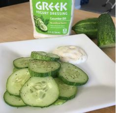 Cucumber slices with Greek yogurt dressing   17 Easy Healthy Snacks To Keep You From Getting Hangry