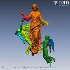 Digitalización 3d - Virgen con Ángeles - Cortes para fresado mostrados por colores