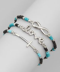 Silver & Turquoise Rhinestone Stackable Bracelet