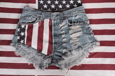 High waisted American flag denim shorts US stars and stripes Red Blue White Levis Hipster grunge clothing distressed destroyed by Jeansonly