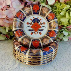 6 Beautiful Vintage Fitz & Floyd Porcelain Bowls ~ Empress Cobalt Rust Gold Gilt #FitzFloyd